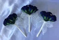 WEDDING FLOWERS 3 X IVORY NAVY BLUE ROSE FLOWER GIRL BOUQUET WAND ARTIFICIAL